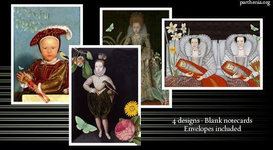 Parthenia Notecards - Renaissance Seasons - 4-pack